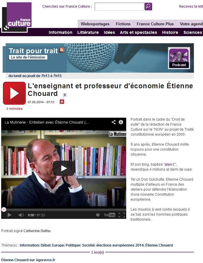 Émission «Trait pour trait» (France Culture) du 7 mai, sur les ateliers constituants populaires qui viennent