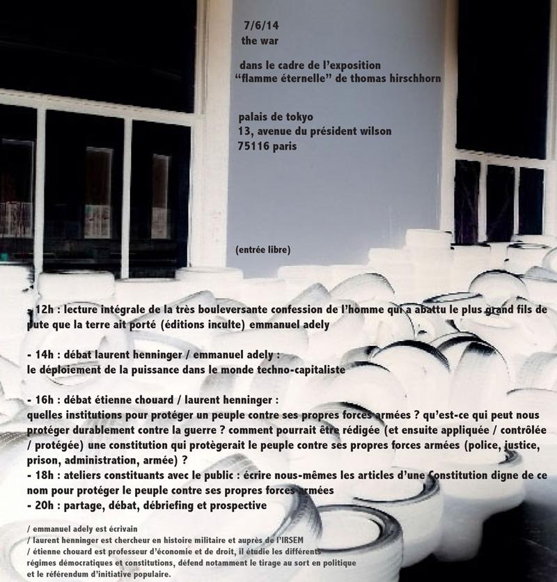 Prochain atelier constituant, «sur les forces armées», à Paris, samedi 7 juin 2014, 16 h, avec «Flamme éternelle»