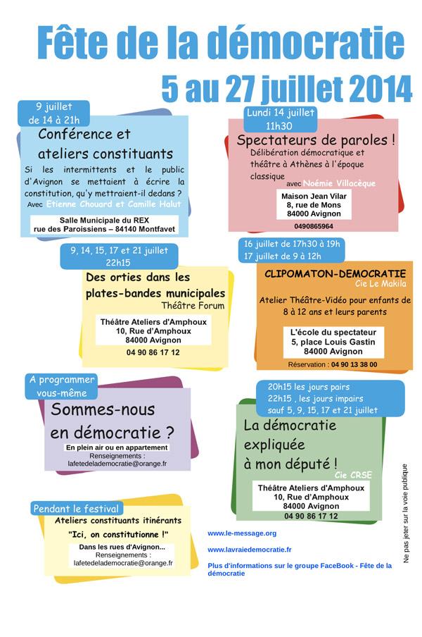 Atelier constituant en Avignon, le 9 juillet 2014: artisans de spectacles et démocratie locale, avec Camille Halut