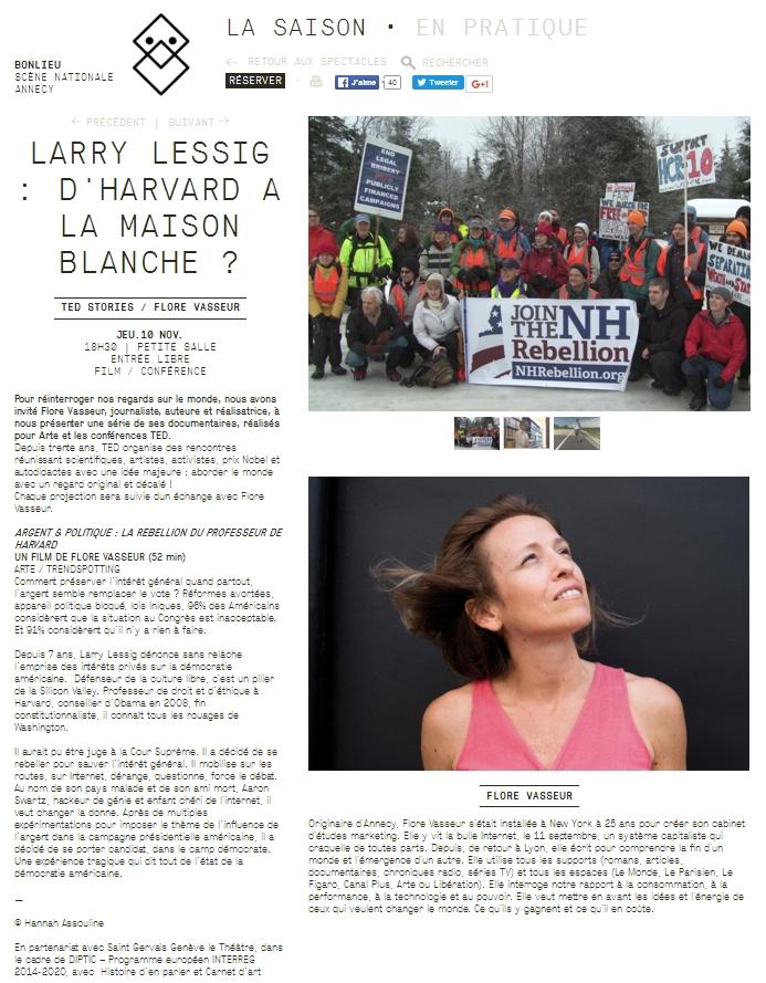 [Contre la corruption générale des politiciens] Larry Lessig sera avec Flore Vasseur à Annecy, jeudi prochain, 10 novembre