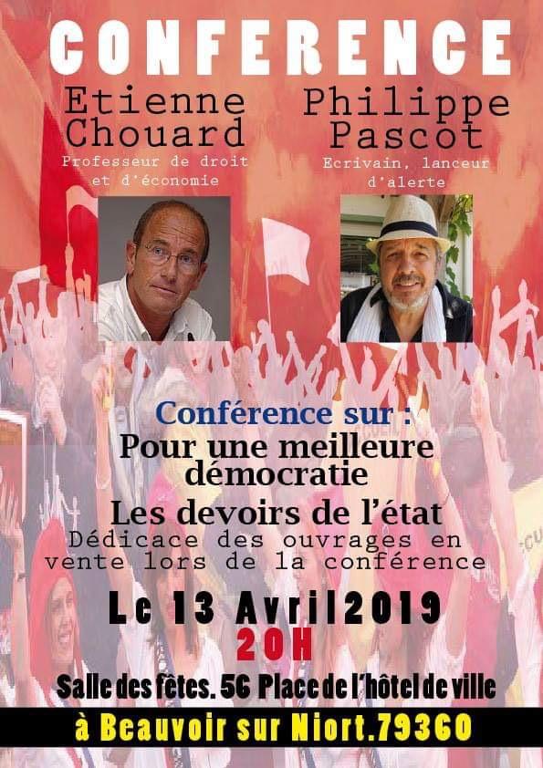 Rendez-vous à NIORT samedi 13 avril avec Philippe Pascot