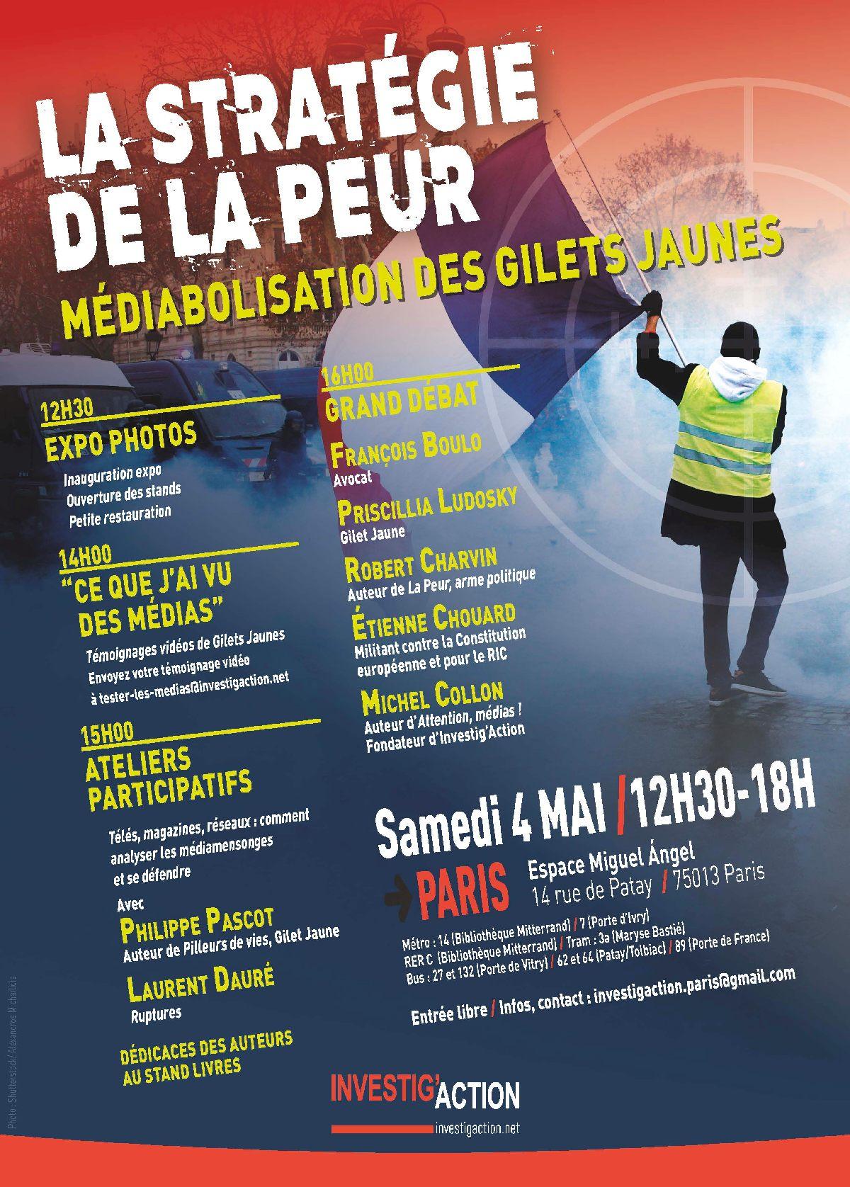 Cette semaine, 2 rendez-vous avec Michel Collon, sur le thème «Propagande de guerre et diabolisation des opposants»: 1) Jeudi Chouard #8 sur Sud radio le jeudi 2 mai (19h-22h), et 2) débats le samedi 4 mai (12h30-18h) à Paris avec l'asso Miguel Angel, Philippe Pascot, Laurent Doré, Priscillia Ludosky, François Boulo, Robert Charvin et Michel Collon