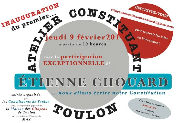 Rendez-vous à Toulon, le 9 février 2017 à 19 h, pour des ateliers constituants sur la monnaie