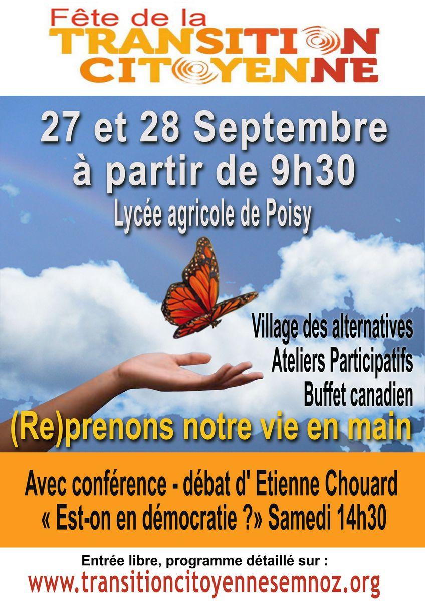 «(Re)prenons notre vie en main», rdz-vs près d'Annecy, les 27 et 28 sept. 2014, aux 'Journées Nationales de la Transition Citoyenne'