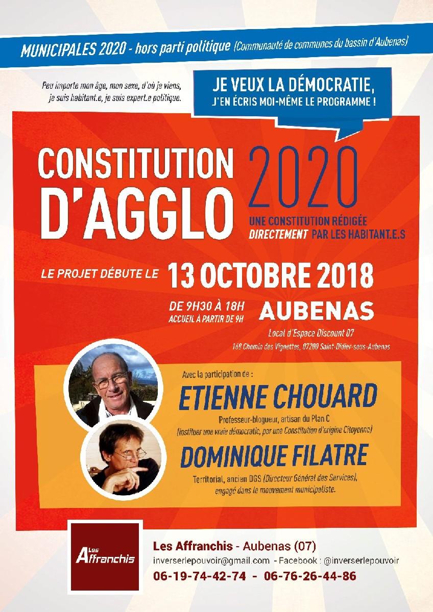 [Démocratie = d'abord locale] Rendez-vous le 13 octobre 2018 à Aubenas, avec Les Affranchis, pour des ateliers sur une constitution d'agglo, premier niveau de fédération de communes libres