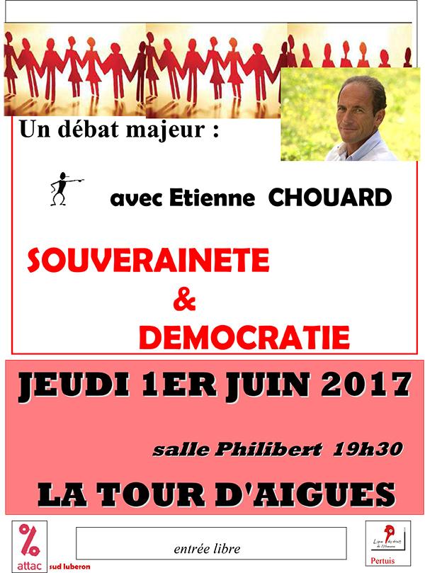 Rendez-vous pour un débat à La Tour D'aigues (84) jeudi prochain, 1er juin 2017 à 19h30, avec Attac et la LDH, sur le thème «SOUVERAINETÉ ET DÉMOCRATIE»