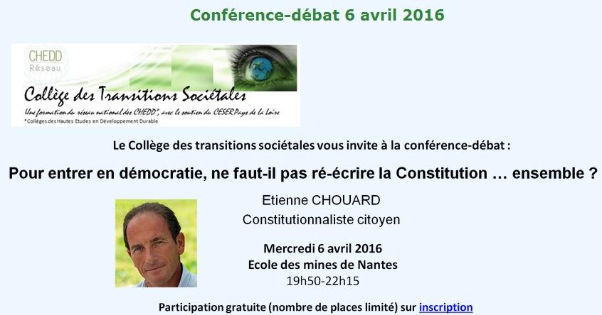 Rendez-vous à Nantes, mercredi et jeudi prochains: le 6 avril pour une conférence-débat à l'École des Mines, et le 7 pour des ateliers constituants