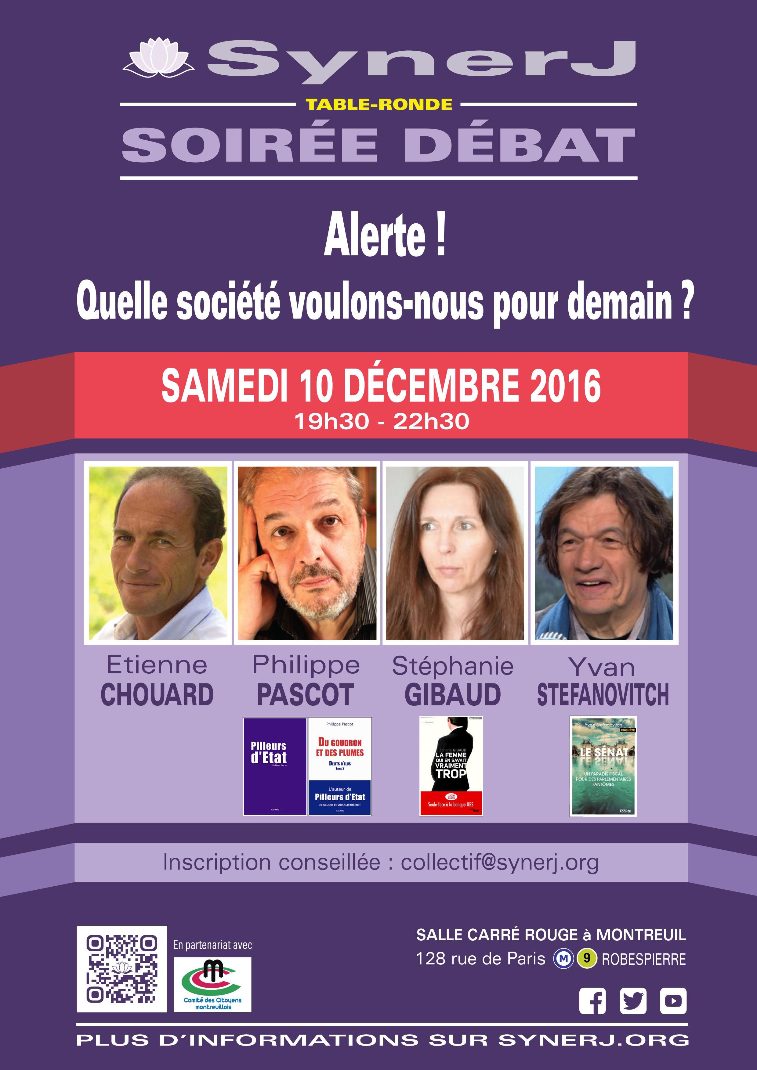 [Lanceurs d'alerte, contrôle des politiciens et constitution d'origine citoyenne] Rendez-vous le 10 décembre 2016 à Paris, avec Philippe Pascot, Yvan Stefanovitch et Stéphanie Gibaud