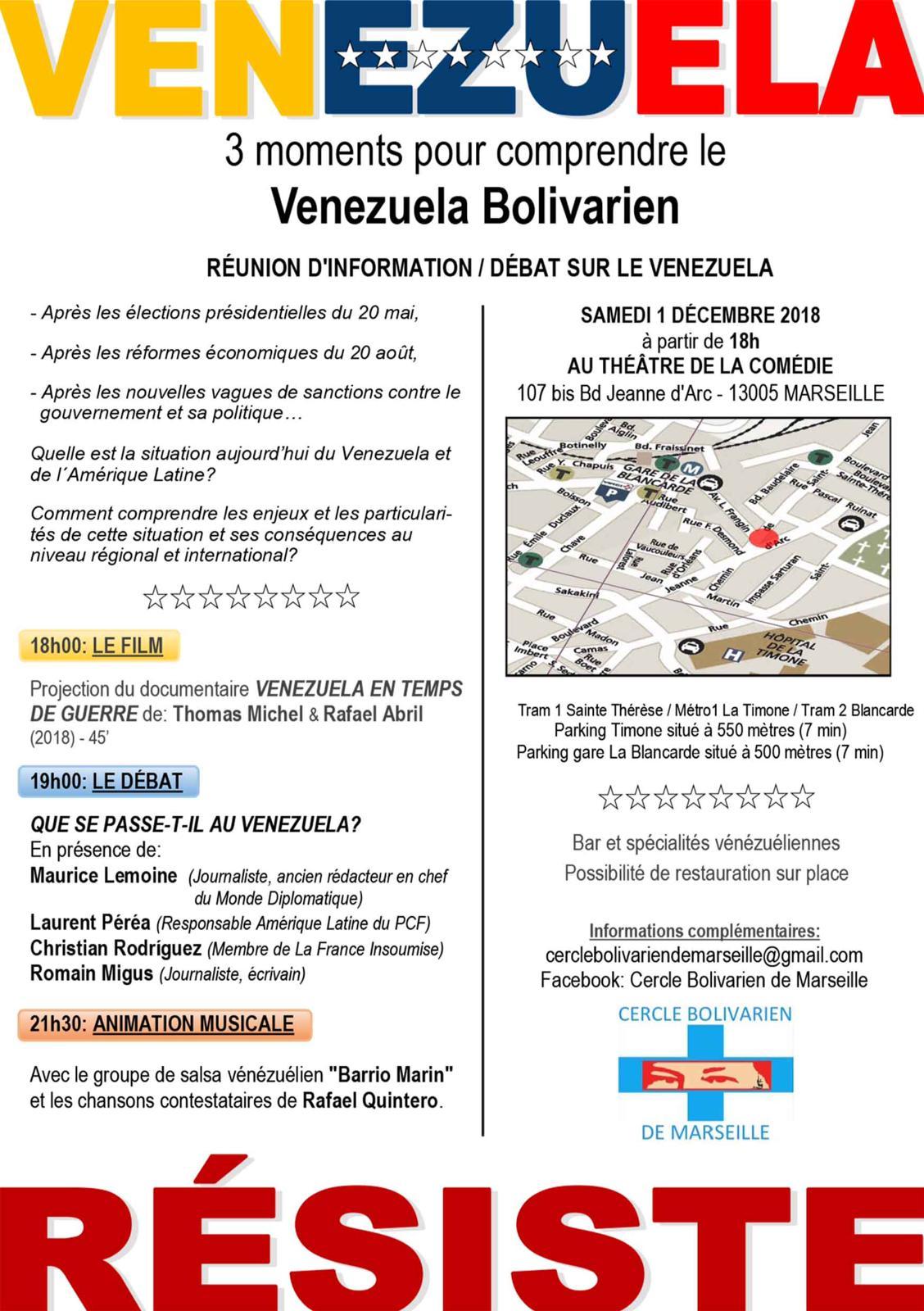 [LE VENEZUELA RÉSISTE] Comprendre le Venezuela bolivarien, rdz-vs à Marseille samedi 1er décembre 2018, 18h