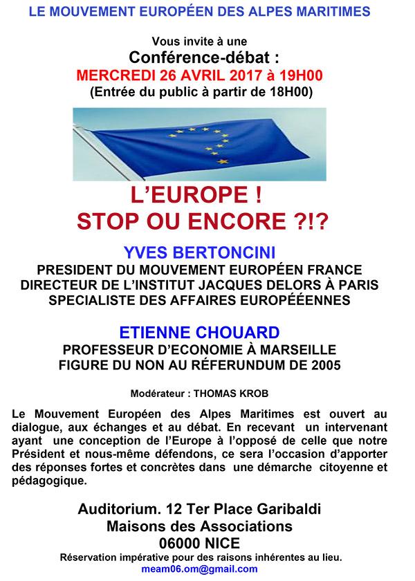 Rendez-vous à Nice, le 26 avril 2017 à 19h, pour un débat: L'EUROPE, STOP OU ENCORE?