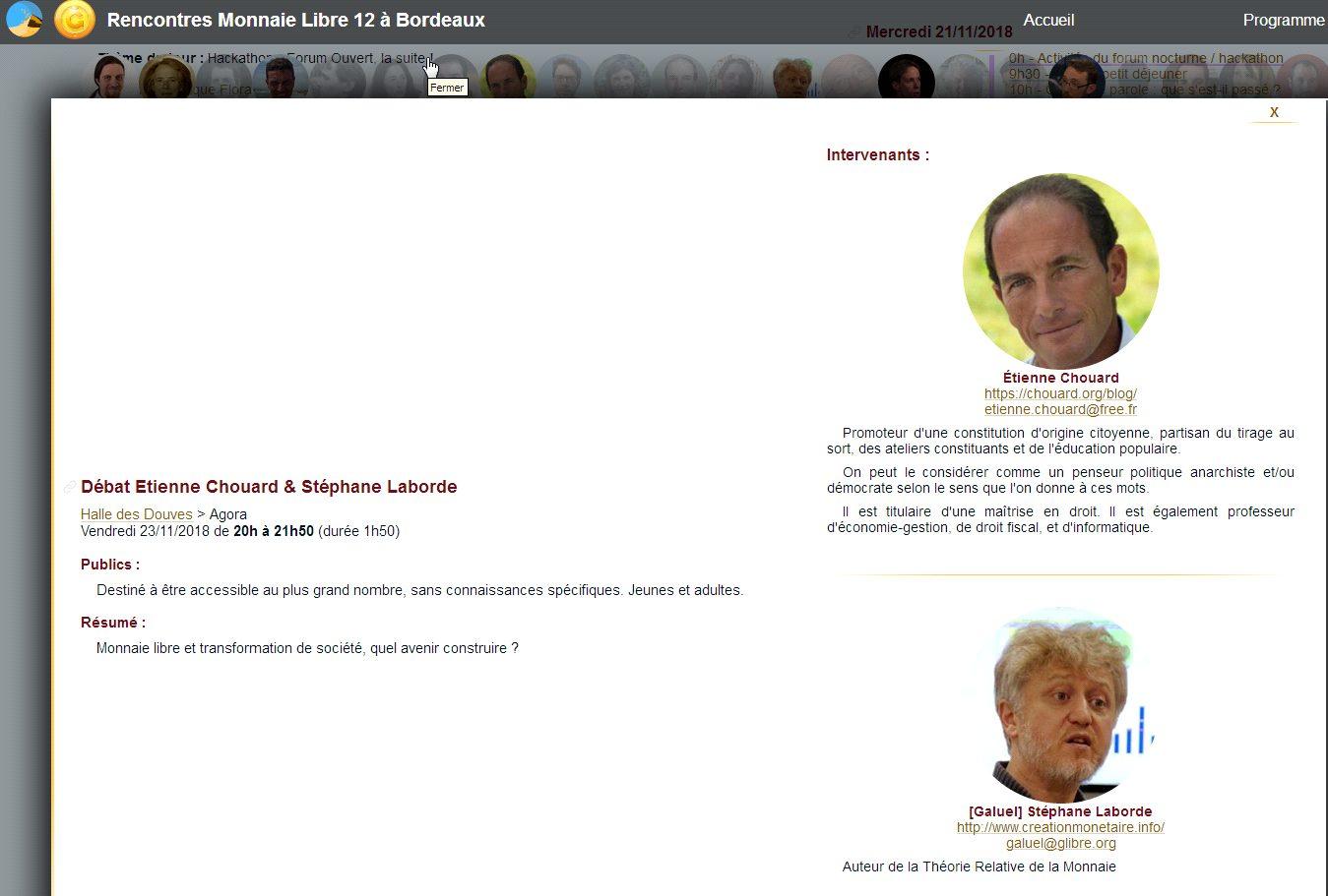 Rendez-vous aux 12e Rencontres de la MONNAIE LIBRE à Bordeaux du 17 au 25 novembre, en partenariat avec les Colibris. J'y interviens le 23 novembre, pour parler de la Ğ1 (june) avec Stéphane Laborde
