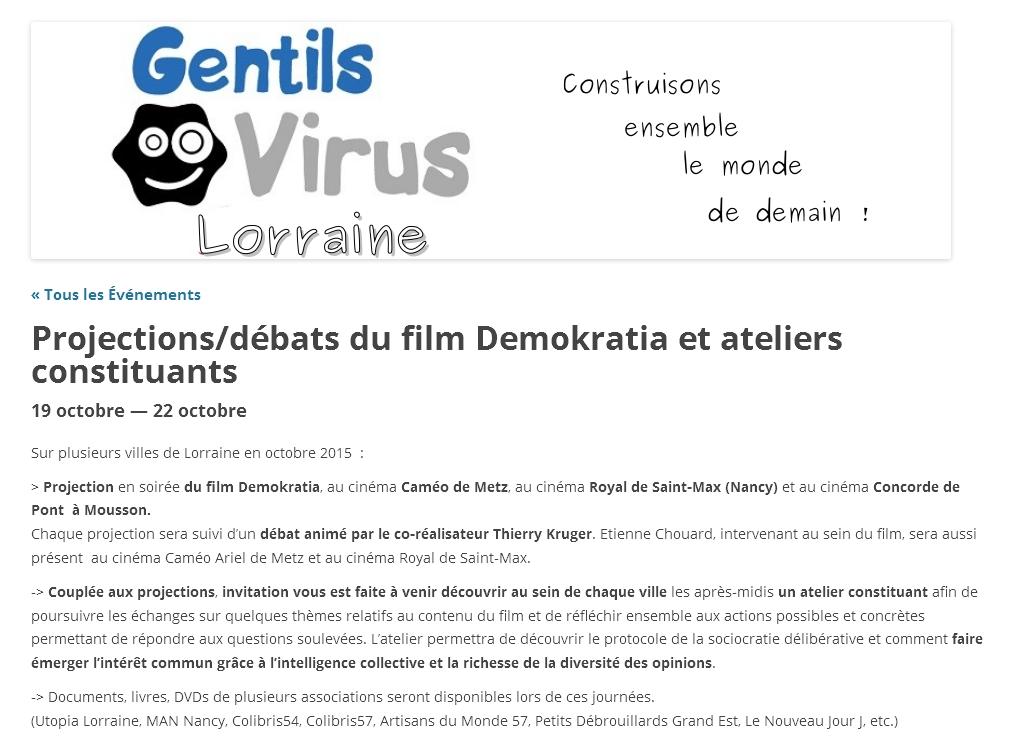 Rendez-vous à Metz et à Nancy, les 19 et 20 oct. 2015: projections-débats autour du film Demokratia et ateliers constituants