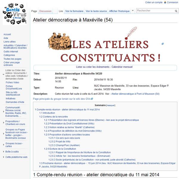 Compte rendu d'atelier constituant, à Maxéville (54) en mai