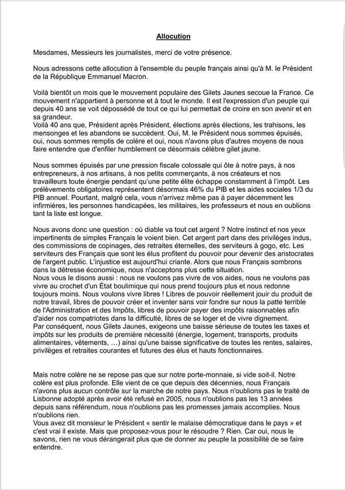 Communiqué de presse «Serment du Jeu de Paume», de Gilets Jaunes aux journalistes et au président de la République