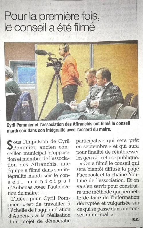 [Contrôle des pouvoirs, ici et maintenant] Les Affranchis: séance de TOURNAGE du Conseil municipal d'Aubenas de mardi 10 avril dernier