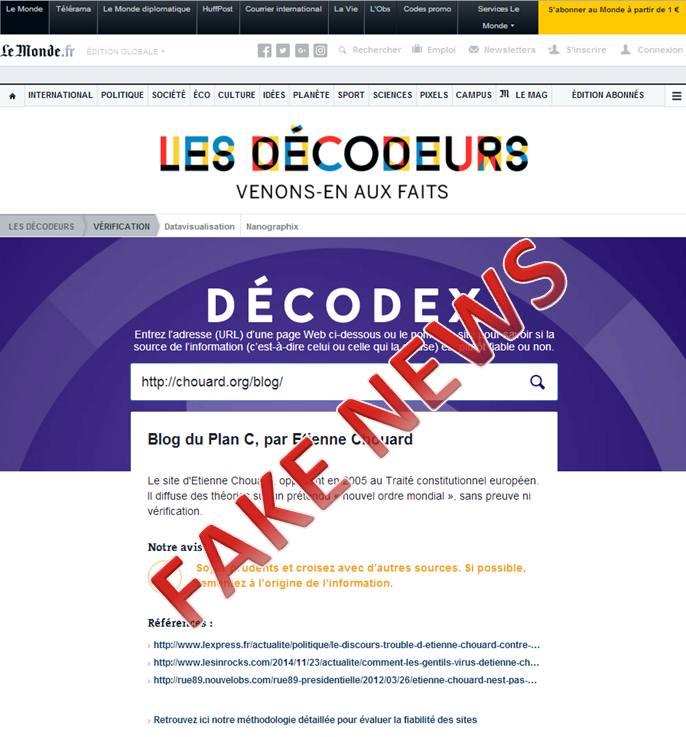 [Déjà un an de censure par diffamation] Droit de réponse d'Étienne Chouard aux allégations mensongères du journal Le Monde sur son prétendu «Décodex»