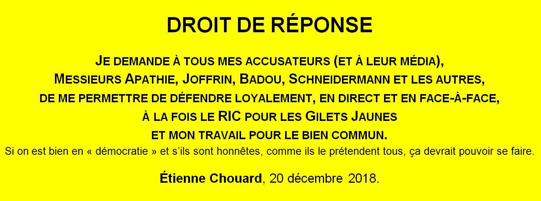 [RIC POUR LES GILETS JAUNES (et les autres)] Les mœurs des «journalistes» en France, en 2018, avec les vrais opposants, c'est 2 qui tiennent et 3 qui cognent… et un bâillon pour qu'il se taise… Je demande le droit de nous défendre loyalement: en direct et en face à face
