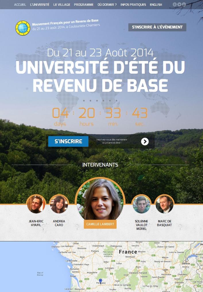 Page d'accueil du site de l'université d'été du revenu de base, Périgueux, août 2014