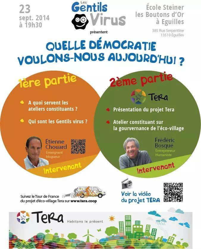 Quelle démocratie voulons-nous aujourd'hui? Rdz-vs à Aix-en-Prov, le 23 sept, avec F. Bosqué (Tera)