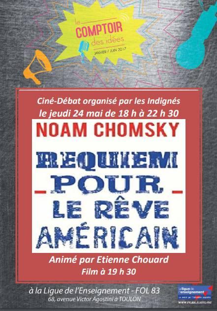 Rendez-vous à Toulon le 24 mai 2018, à 18 h, avec les Indignés, autour du dernier film sur Chomsky